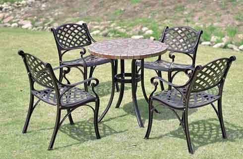 Bàn ghế ngoài trời mặt đá ZX M078H031